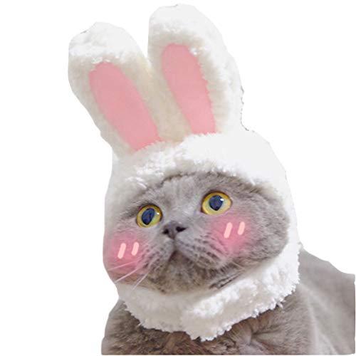 mama stadt Hasenohren Ostern Cosplay Katze Hut Hase Ohren Hund Haustier Hut,Weiß