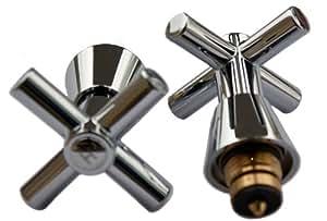 Plumb-Pak Larges têtes de robinet minimalistes à poignée cruciforme