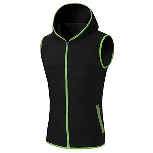 Amlaiworld Männer Ärmelloses Weste-Kapuzen-T-Shirt Top, cooles und buntes T-Shirt Kapuzen-Zipper-Kleidung (L, Grün)
