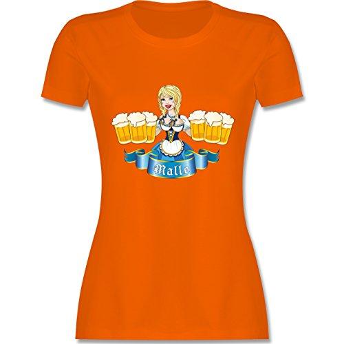 Urlaub - Malle Bier Mädl - tailliertes Premium T-Shirt mit Rundhalsausschnitt für Damen Orange