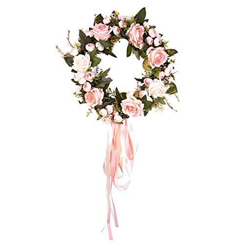 Cypressen kunstblumen Girlande High End Silk Rosen Blumen Kranz Künstliche Frühling Türkranz Fertigkeit Dekoration DIY Home ()