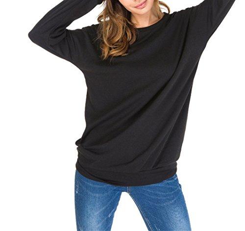 YOSICIL Femme Col Rond Basique T-Shirt Manches Longues Grande Taille Tops Casual Lâche Chemise Tee-Shirt Blouse Pull Sweat-Shirt Couleur Unie Printemps Automne Noir