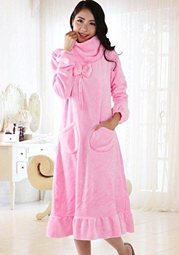LJ&L Lunghezza manica flangia lungo di stile permeabile all'aria abito corallo velluto Gonna comodi alla moda pigiama allentati,Ms Pink white,XXXL Ms Pink