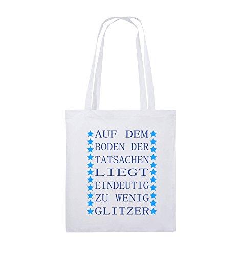 Comedy Bags - Auf dem Boden der Tatsachen liegt eindeutig zu wenig Glitzer - Jutebeutel - lange Henkel - 38x42cm - Farbe: Schwarz / Weiss-Pink Weiss / Royalblau-Hellblau