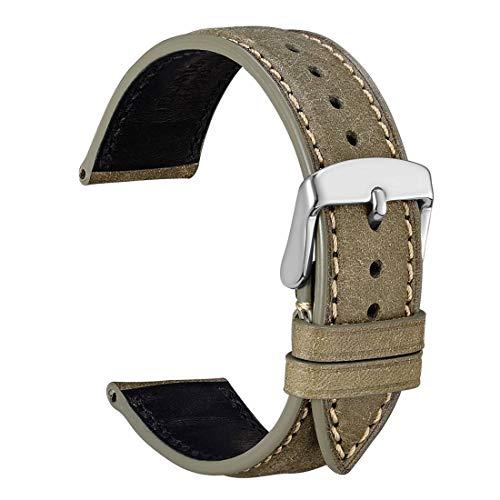 WOCCI 22mm Leder Uhrenarmband mit Edelstahl Silber Schnalle, Ersatz Zubehö Unisex (Olive von Grün) (Leder Olive Uhrenarmband)