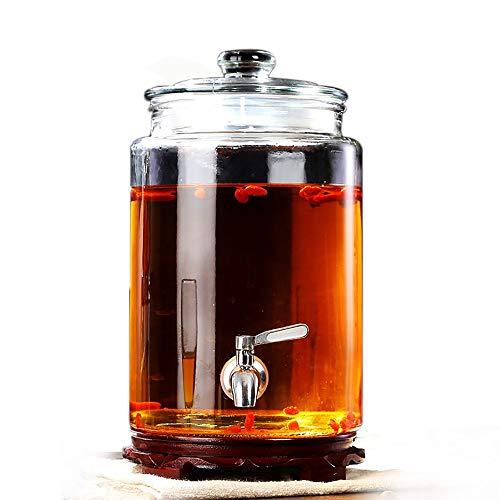 HYXQYJP Dispensador de Bebidas de Vidrio de 5 l / 7,5 l / 10 l con Espiga sin Fugas, Base de Madera y Tapa de Vidrio, dispensador de Bebidas para Limonada, té y Agua fría
