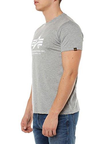 Alpha Industries Herren Regular Fit T-Shirt Basic T-Shirt greyheather/white