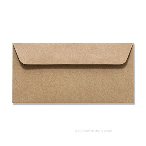 100 Stück // Umschläge, Recycling – Naturfarbe braun, DIN LANG 114 x 229 (100% natubelassenes Material – FSC-zertifiziert)