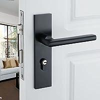 vanme Solid Nero Spazio alluminio Porta European-Style Minimalista interno Maniglia per porta con serratura blocca la Camera Lock