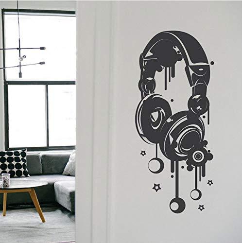 Kopfhörer Musik Vinyl Flugzeug Wandaufkleber Kunst Wohnkultur Für Jugendliche Room Cut Decals Removable Murals Kinder Schlafzimmer Dekoration 42x97cm