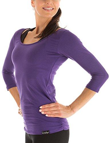 Winshape Damen Fitness Yoga Pilates 3/4-Arm Shirt WS4, Dunkel Lila, Gr. S