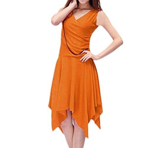 Damen V-Ausschnitt aermellos Unregelmaessigkeit Saum Latin Tanzenkleid Orange