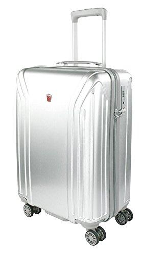 Traveller New York Kleiner Hartschalen Koffer, 4 Rollen Reisekoffer für Damen / Herren mit TSA Schloss, 58x39.5x24.5 – 38L, Silber
