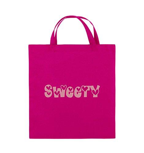 Comedy Bags - Sweety - HERZEN - Jutebeutel - kurze Henkel - 38x42cm - Farbe: Schwarz / Pink Pink / Rosa