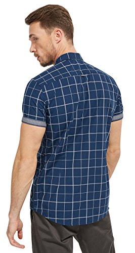 Tom Tailor für Männer Shirt / Blouse gemustertes Kurzarm-Hemd Navy