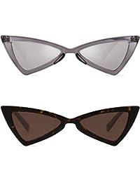 SOJOS Rétro High Point Petit Lunettes de Soleil Teinté Couleur Triangle Bowknot pour Femme SJ2051 avec 2 pack de Rouge/Gris & Blanc/Gris