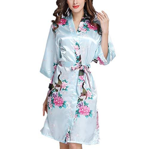 Damen Kimono Pyjama, Spitze V-Ausschnitt Satin Brautkleid Hochzeit/Hochzeit/Party, Satin dünnen Bademantel/Lange Strickjacke Kleid(hellblau)XL