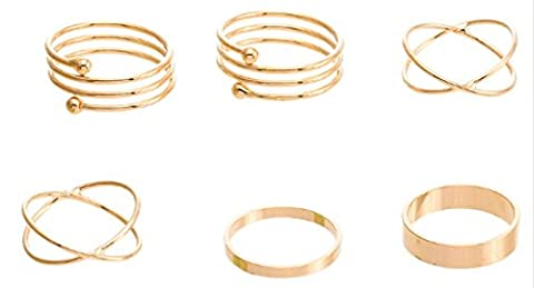 SaySure - Ring Set Punk Gold Plated Knuckle Rings 6 PCS (SIZE : 17)