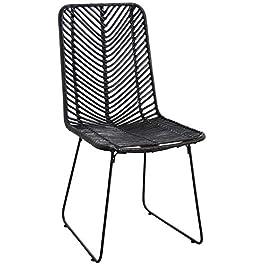 AUBRY GASPARD MCH1570 Chaise en rotin Noir et métal