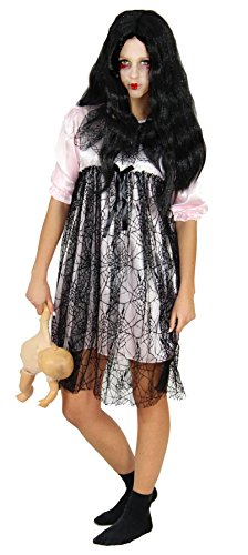 Foxxeo 40171 | rosa Horror Puppen Kleid Halloween Kostüm Damen Zombie Geist Karneval Gr. S - XL, Größe:L