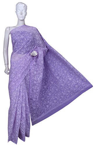 ADA Hand Embroidered Lucknow Chikan Cotton Saree (A234418_Mauve)