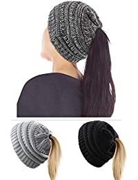 3 Pièces Bonnet Chapeau d hiver de Femmes Bonnet Extensible de Chignon Haut Chapeau  Tricoté de Queue de Cheval avec Trou pour… 3b1f9719760