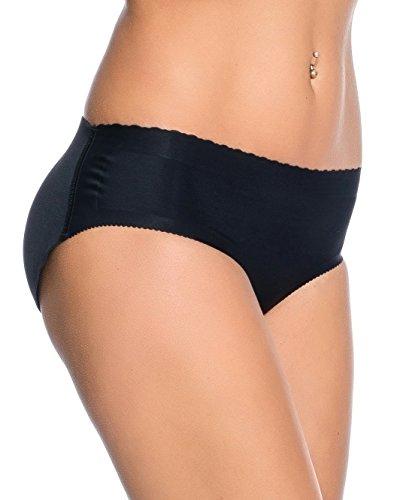 Kendindza Damen Push Up Popo Höschen - HosePants - fest eingearbeitete Polster - Unterhose Slip - Po Push Up Effekt (M, Schwarz) (Push-up-damen Panty)