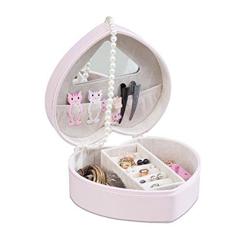Relaxdays Schmuckkästchen Herz aus Kunstleder, Schatulle mit Spiegel für Ringe und Ketten, Box mit Reißverschluss, rosa
