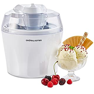 Andrew James Ice Cream Maker Machine with Detachable Mixing Paddle 1.5L - Makes Gelato Frozen Yoghurt & Sorbet Machine - Voted