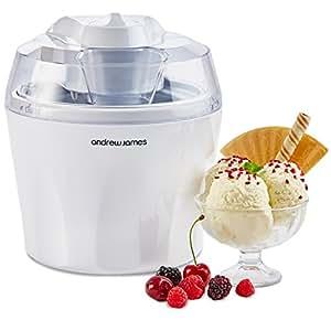 Andrew James Sorbetière Machine à Glace 1,45 L | Idéal pour Yaourts Glacés Glaces Milkshake Sorbets Produit Glacés (Blanc)