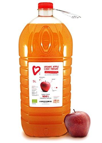 5L - Living Earth Aceto Biologico di mela con madre, non pastorizzato, non filtrato, 5L
