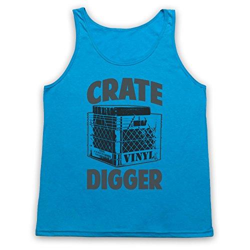 Crate Digger Vinyl Junkie Tank-Top Weste Neon Blau