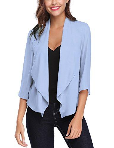 Abollria cardigan donna corto estivo coprispalle elegante con maniche 3/4 lunghezza cardigan leggero per primavera estate autunno (m(it 44), blu leggero)