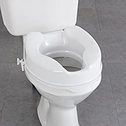 Commode raiser is easy to install, sits directly on toilet with the seat raised. It is expertly designed as a bathroom safety solution for individuals who have difficulty sitting down or getting up from the toilet. The newly designed locking device i...