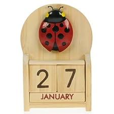Ladybird Perpetual Calendar : Handcrafted Wood : Size 10.5x7x3.5cm : Top Gift Idea : Traditional Present For Children, Kids, Boys, Girls, Him, Her & Fun Loving Adults! : 50+ Garden Bird, Animal & Transport Designs