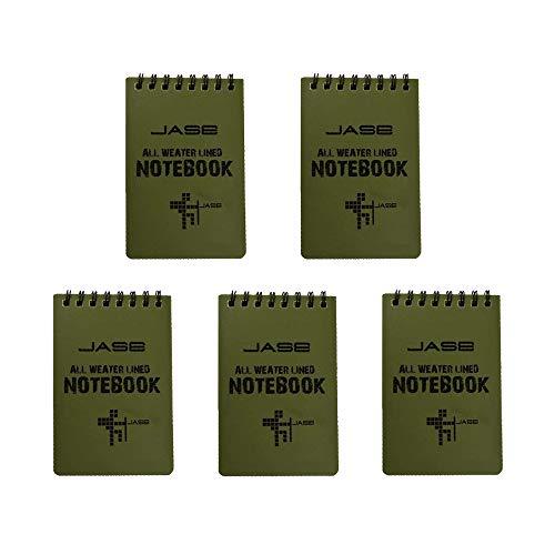 Confezione da 5 fogli impermeabile per appunti / blocco note per attività all'aria aperta e tascabile, formato tascabile (verde)
