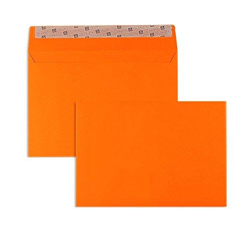 Farbige Briefhüllen | Premium | 162 x 229 mm (DIN C5) Orange (100 Stück) mit Abziehstreifen | Briefhüllen, Kuverts, Couverts, Umschläge mit 2 Jahren Zufriedenheitsgarantie