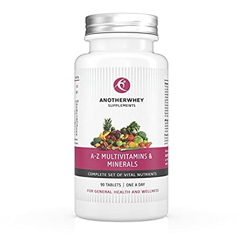 A-Z Multivitamins & Minerals By AnotherWhey - More Than 35 Different Nutrients - Dietary Supplement For Daily Use - 90 Tablets - 3 Months Supply - Utmost Quality Made In UK - Satisfaction Guarantee ! FREE Gift with every order