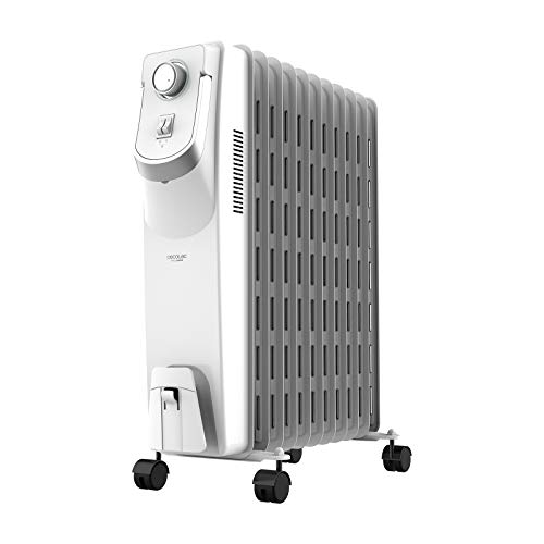 Cecotec Radiador de Aceite Ready Warm 5850 Space 360º. 11 Módulos, Bajo Consumo, Termostato Regulable, 3 Niveles de Potencia, Sistema Antivuelco, Fácil Transporte, 2500 W