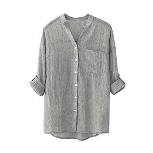 Vovotrade® Femmes Coton Chemise Unie Manches Longues Blouse avec Bouton Casual Tops Toute Saison Gris