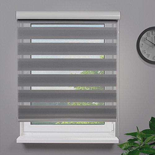 Fensterdecor Fertig Duo-Rollo Doppelrollo mit Aluminiumkassette / Farbe Grau 130 x 230 (BxH)