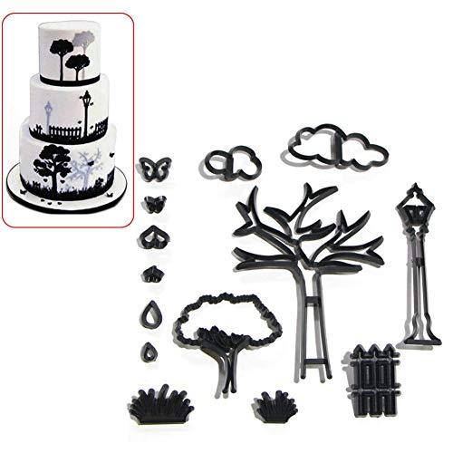 14 stücke Patchwork Cutter - Park Silhouette Set Kuchen Dekorieren Sugarcraft Schneidwerkzeug Kuchen Dekorieren Kit