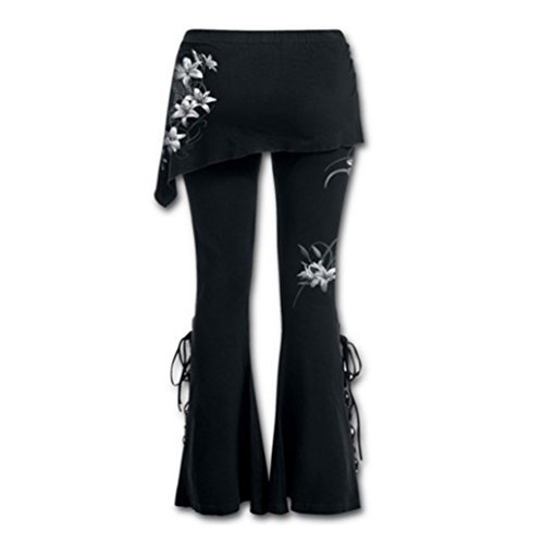 Donne Pantaloni Casuale Lungo Pantaloni - Donna Tempo Libero Pantaloni Floreale Stampato Alto Waisted Ghette Allacciare Flared Pantaloni Patchwork Mini Gonna Highdas #2
