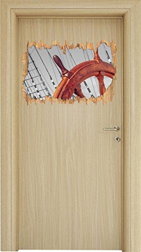 hölzernes Steuerrad auf einem Schiff schwarz/weiß Holzdurchbruch im 3D-Look , Wand- oder Türaufkleber Format: 62x42cm, Wandsticker, Wandtattoo, Wanddekoration