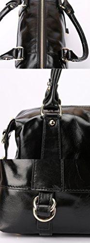 borgasets Femme Vintage Style Hobo Sac bandoulière Sac en Cuir Véritable doux Noir - marron