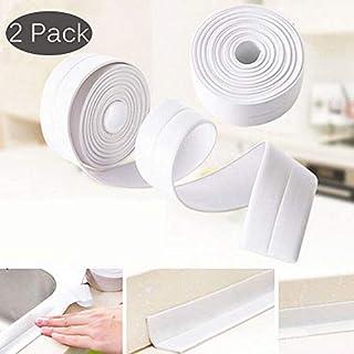 2 Pack Self-Adhesive PE Wall Caulk Strip Sealant Roll Sealing Tape Waterproof Decorative Trim for Bathroom, Kitchen and Toilet(38mm x 3.35m)