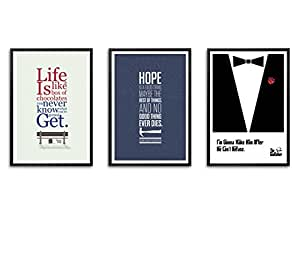 Set of Three Famous Movie Dialogues Quotes Framed Poster