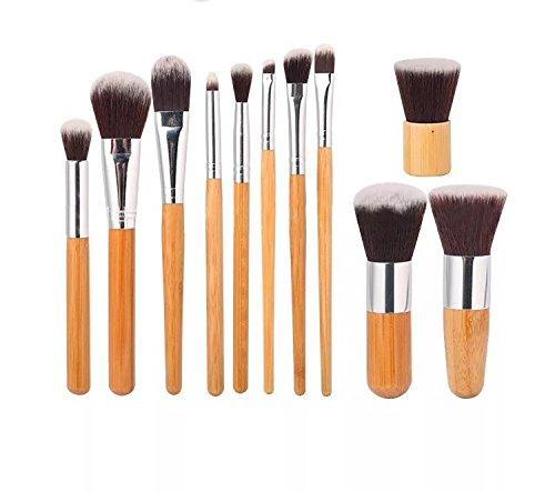 monoe 11Bambus Griff Make-up-Pinsel Set Natural verkohlten Bambus-Griff mit Grün Tasche Full Set Anfänger