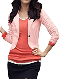Sourcingmap Ladies Long Sleeves Button Closed Slim Fit Autumn Blazer