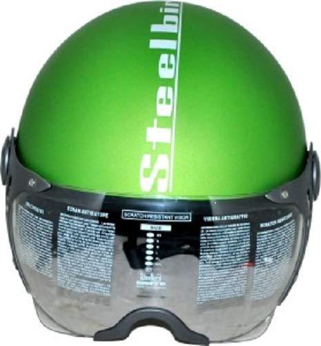 Steelbird SB-27 Open Face Helmet With MJ Brand 5 mukhi Rudraksh (Green, L)